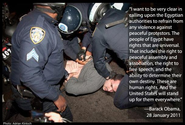 Quiero ser muy claro en llamar a las autoridades egipcias a abstenerse de cualquier acto de violencia contra manifestantes pacíficos. El pueblo de Egipto tiene derecho de que son universales. Esto incluye el derecho de reunión pacífica y Asociación, el derecho a la libertad de expresión y la capacidad de decidir su propio destino. Estos son los derechos humanos. Y Estados Unidos, los defenderá en todas partes